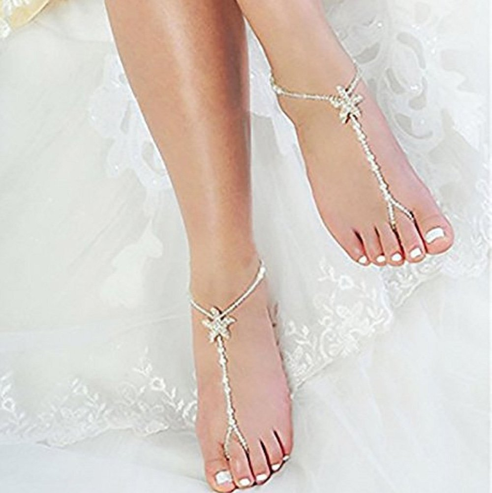 Damen Barfuß Sandale Strand Perle Fußkettchen Knöchel Armband Fuß Kette  CBL