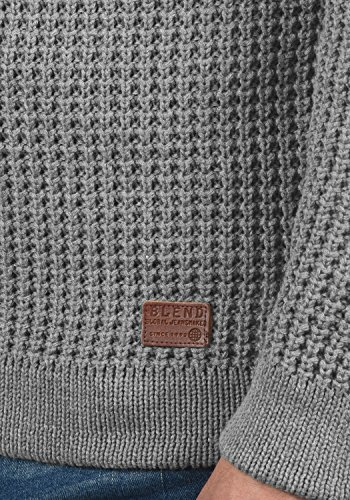 BLEND Wesley Herren Strickpullover Hoodie Grobstrick Pulli mit Kapuze aus 100% Baumwolle Zink Mix (70815)