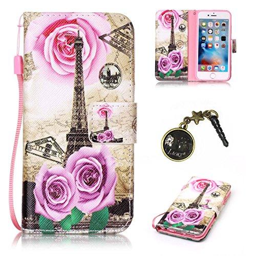 Preisvergleich Produktbild für Smartphone Apple iPhone 6 (4.7 Zoll) Hülle, Leder Tasche für Apple iPhone 6 (4.7 Zoll) Flip Cover Handyhülle Bookstyle mit Magnet Kartenfächer Standfunktion + Staubstecker (10OO)