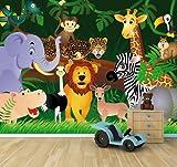 selbstklebende Fototapete - Kindertapete Wilde Tiere im Dschungel - Cartoon - 200x150 cm - Tapete mit Kleber – Wandtapete – Poster – Dekoration – Wandbild – Wandposter – Wand – Fotofolie – Bild – Wandbilder - Wanddeko