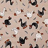 Stoff Meterware Hase Ente Reh, Baumwolle Polyester, 280 cm