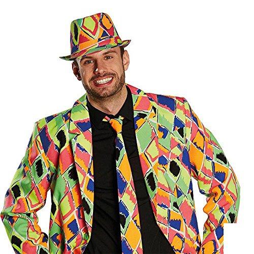 Kostüm Zubehör Hut Fedora Neon Raute Karneval Fasching Party