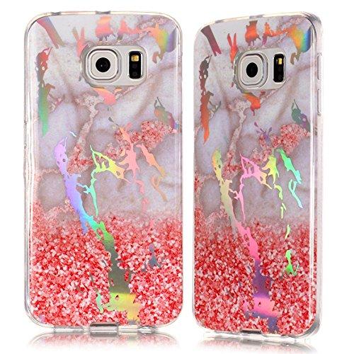 Vectady für Samsung Galaxy S6 Edge [NO für S6] Hülle, Schutzhülle Case Cover Handyhüllen Silikon TPU Marmor Muster Bling Glitzer Slim Dünn Silikonhülle für Samsung Galaxy S6 Edge,Rosa Grau