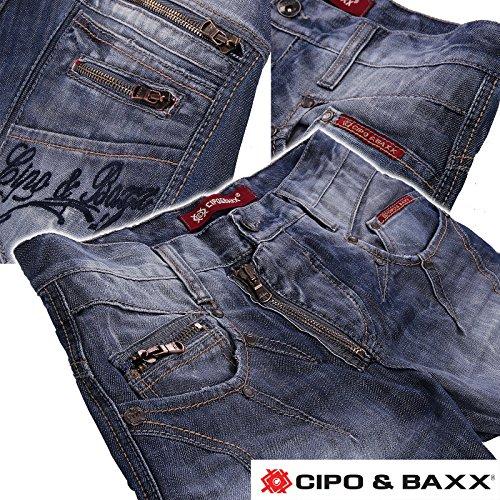 Cipo & Baxx Jeans da uomo pantaloni verwaschen | Cargo Denim Club wear verwaschen spessore cuciture azzurro | W28–W40| L30–L32–L34–L36 Hellblau