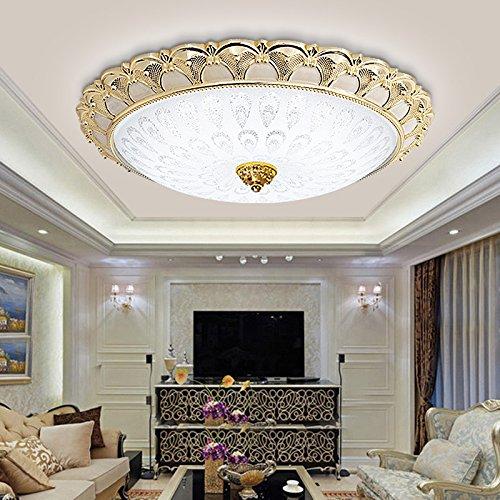 Lilamins Continental uns Deckenleuchten Led kreisförmige Lounge Licht modernen minimalistischen Balkon Licht Gang Deckenbeleuchtung für Wohnzimmer, Schlafzimmer, Bad, Flur, Esszimmer, 40 cm Leuchtkörper (Gold - warmes Licht LED