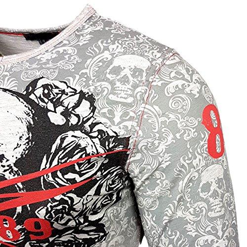 Rusty Neal Longshirt Printed Motiv Druck Washed Verwaschen Longsleeve 10131 Grau