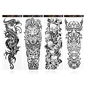 Rosenice Tatuaje tatuaje temporal Tatuajes tatuajes falsos duraderos para hombres 4 hojas de Rosenice