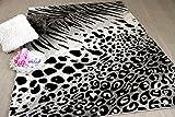 Carat Designer Teppich Leopard Zebra Schwarz Grau in 2 Größen
