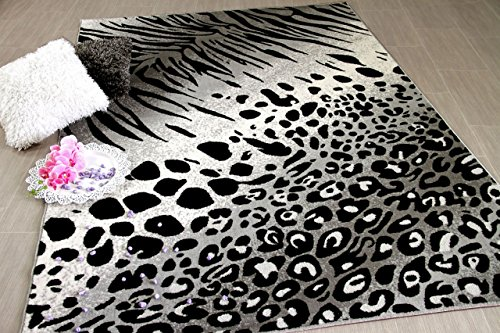 Carat Designer Teppich Leopard Zebra Schwarz Grau in 2 Größen Grau Zebra