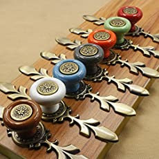 Stay Young 7pcs Vintage Style Ceramic Pumpkin Drawer Knobs with Screw (Multicolour)