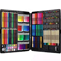 Idea Regalo - 258 Piece Creativity Art Set for Kids Disegno e pittura (acquerello, pastelli, pennarelli colorati, matite colorate)