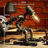 WXBW Tischlampe-Eisenrohr Auge Industrie Retro Kaffee Bar Wasser Rohr Roboter LED Geschenk Schutz Lampe