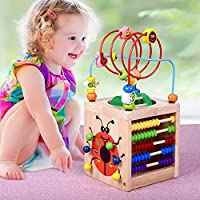 6 in 1 Wooden Learning Bead Maze Cube Activity WALKER Educational Toy