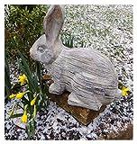 F&G Supplies Figura Decorativa de Conejo Grande, Diseño de Conejo en un Acabado de Efecto Piedra, Ideal para Jardines, Puertas, invernaderos o Interiores
