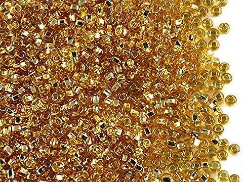 20gr 10/0 (2,4-2,2 mm) Tchèque rond Perles de rocaille de verre, Amber Silver Lined