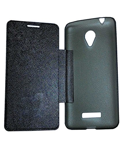 Elint Micromax Canvas Mega 4G Q417 Flip Cover (Black)