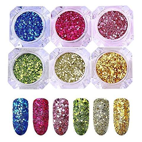 BONNIESTORE 1g Nail Sequins Polvere Dust Dimensioni Mixed Ilexagon Iridescent Flakies Glitter Paittelle Nail Art Decorazione per le donne Accessori fai da te (6 colori)
