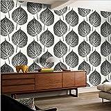 H&M Carta da parati in PVC moderno semplice 3D in bianco e nero foglie di carta da parati decorazione camera da letto TV parete salotto carta da parati -53 cm (W) * 10 m (L) , black and white