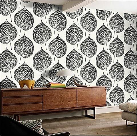 H&M Tapete PVC modern einfach 3D Stereo schwarz und weiß Blätter Tapete Dekoration Schlafzimmer TV Wand Wohnzimmer Tapete -53 cm (W) * 10 m (L) , black and white