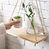 Ancient Shoppee Wood Wall Hanging Shelf, Wood Floating Shelves, Hanging Swing Rope Shelves White Rope Hanging Shelves…