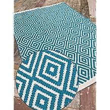 tapis motif geometrique bleu. Black Bedroom Furniture Sets. Home Design Ideas