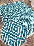 Kleiner Fair-Trade Diamond-Teppich, 60 x 90 cm, Rot, Grün, Schwarz, Lila, Blaugrün, Baumwollmischung, blaugrün, 60 x 90 cm
