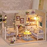 Qearly Handgefertigt Holz Miniatur Puppenhaus Geschenk Mini Haus DIY Dollhouse Kit Moebel Mit Abdeckung und LED Licht-Kitten Tagebuch