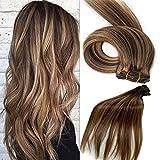 Set Clip en Extensions de cheveux 100% cheveux naturels extension de cheveux remy 7 partie de cheveux en 38,45,50 ou 55 cm longueur des cheveux (38cm, No.4 / 27 Brun moyen à miel blond)