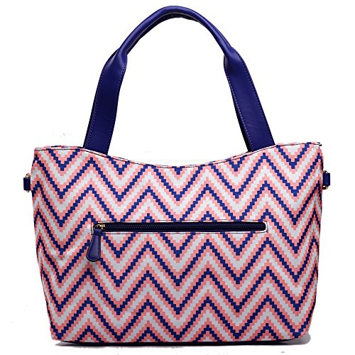 Miss Lulu , Damen Tote-Tasche - Canvas Striped Tote Blue
