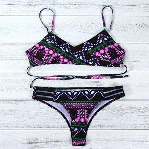 Costume Da Bagno Bikini, BYSTE Push Up Sexy Boemia Bandage Bikini Costumi Da Bagno Due Pezzi, Swimwear Swim Suit Monokini Estate Donna Nuoto Tronchi Spiaggia Reggiseno Set Rosa caldo
