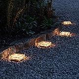 Lights4fun 4er Set LED Solar Glas Pflastersteine Wegbeleuchtung warmweiß groß