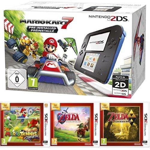 Console Nintendo 2DS + Mario Kart 7 + Mario Tennis Open + The Legend of Zelda : Ocarina of Time + The Legend of Zelda : A Link Between Worlds