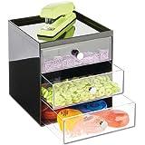 mDesign boite de rangement bureau avec 3 tiroirs – tiroir de rangement pour stylos, trombones, bloc-notes, etc. – meuble à ti