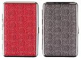 Damen Zigarettenetuis DOPPELSET mit Glitzer für die langen 100 mm Zigaretten (Kingsize) und SLIM- Rot & Silbergrau