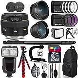 Canon EF 50mm F/1.4 USM Lens 2515A003 + Pro Flash + 0.43X Wide Angle Lens + 2.2X Telephoto Lens + LED Kit + Stabilizing Handle + UV-CPL-FLD Filters + Macro Filter Kit - International Version