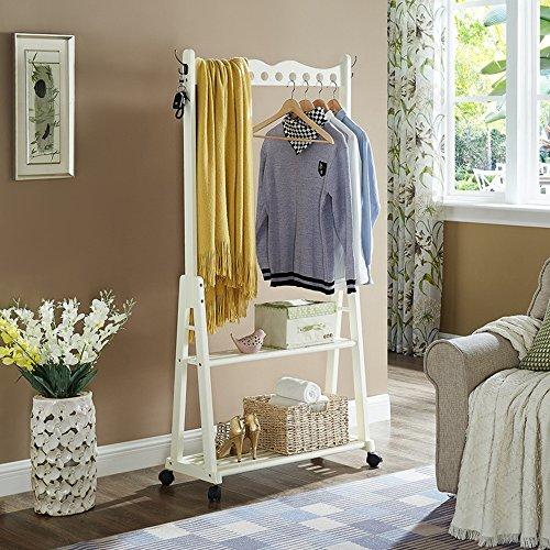 Garderobenständer Duo Garment Coat Rack mit 4 Kleiderhaken 2-Tier-Schuh Kleidung Lagerregale für Wohnzimmer Schlafzimmer Flur Kleiderständer (Farbe : Milky)