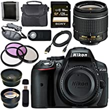 Nikon D5300 DSLR Camera With AF-P 18-55mm VR Lens (Black) Sony 128GB SDXC Card Carrying Case Bundle (12 Items)