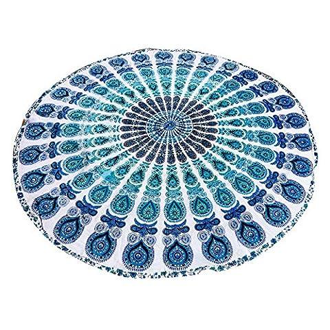 Pfau-Feder-blauer Druck Indischer Tapisserie-handgemachter Tischtuch runder Roundies Strand-Wurf-indischer Dorm-Dekor Psychedelischer Wandteppich Wand-hängender ethnischer dekorativer