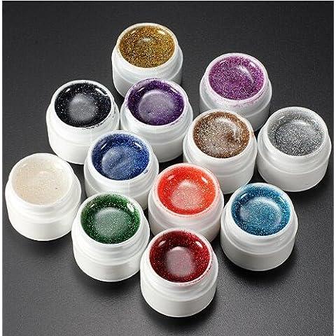 LIFECART 12colori acrilico punte colla Set Kit Nail Art UV Gel Polish Top Coat Builder polvere glitter