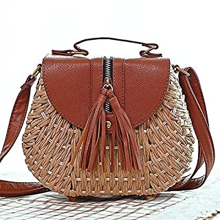 Comaie bag straw rattan cross body woven shoulder shopping beach handbag tassel crossbody bags hand-woven tote one-shoulder fashionable shoulderbags handmade messenger zipper round pocket vacation