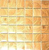 Mosaik-Netzwerk Mosaikfliese Quadrat Clico Holzoptik braun Keramikfliese, Mosaikstein Format: 48x48x6 mm, Bogengröße: 300x300 mm, 10 Bögen
