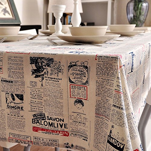 BATSDCB Landschaft Zeitung Muster Tabelle Tuch, Multi-funktions Staubdicht Baumwolle Leinen...
