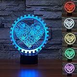 Lampe 3D ILLUSION Lichter der Nacht, kingcoo 7Farben LED Acryl Licht 3D Creative Berührungsschalter Stereo Visual Atmosphäre Schreibtischlampe Tisch-, Geschenk für Weihnachten, Kunststoff, Lotus 0.50 wattsW