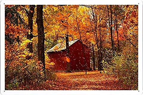 Metal Poster Tin Sign Plate Leaf Fall Autumn Garage Wood Trees October 52174 Retro Vintage Wall Décor by hamgaacaan