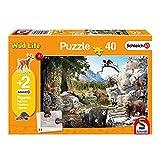 Schmidt Spiele 56239 Schleich, Die Tiere des Waldes, Kinderpuzzle, 40 Teile, mit 2 Originalfiguren, orange