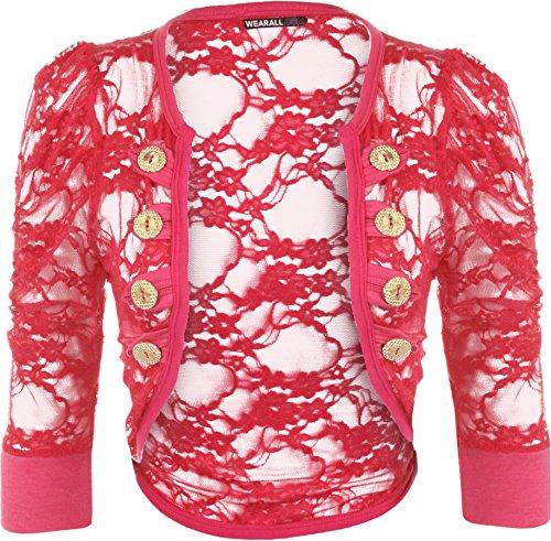 WearAll - Cardigan en dentelle à manches courtes avec les boutons décoratifs - Cardigans - Femmes - Tailles 36 à 42 Cerise