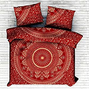 """Exclusive King Size Red ombre mandala set copripiumino con federe da """"Sophia Art, king size copripiumino Doona indiano copertura boho coperta"""