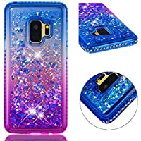 Funda Samsung Galaxy S9, MISSDU Glitter Líquido Flotante Bling Hermoso patrón de Colores Quicksand Series Soft TPU Silicone Etui para Samsung Galaxy S9 Azul & Púrpura