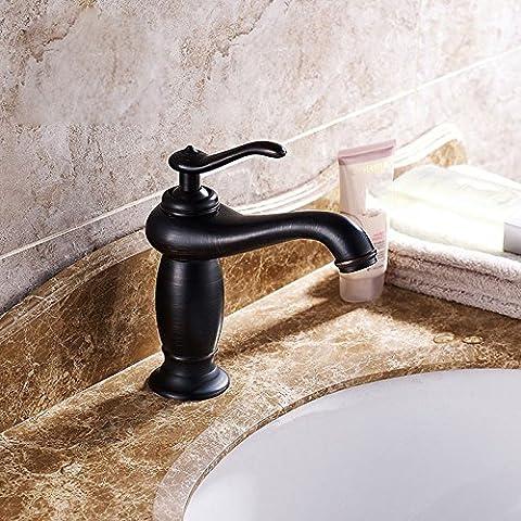 ZHFC- Dark bronze antique copper retro European cold wash basin faucet