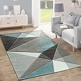 Paco Home Designer Teppich Moderner Konturenschnitt Trendige Dreiecke Pastell Grau Türkis, Grösse:200x290 cm